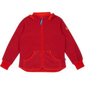 Finkid Kids Tonttu Striped Fleece Jacket cranberry/grenadine
